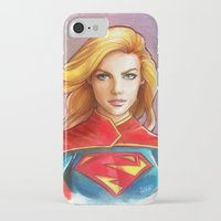 supergirl iPhone & iPod Cases featuring Supergirl by fabvalle