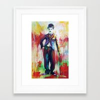 charlie chaplin Framed Art Prints featuring Charlie Chaplin by Marta Zawadzka