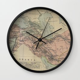 Map of Macedonion Empire Middle East Plan of Tyre from 332 BC Wall Clock