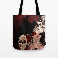 dia de los muertos Tote Bags featuring Dia De Los Muertos  by Kris Chisholm
