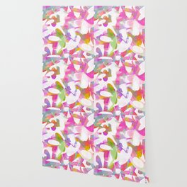 Multicolour Watercolor Spring Abstract, White on Orange, Lavender, Pink and Lime Green Geo Pattern I Wallpaper