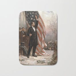 President Lincoln Giving A Speech Bath Mat