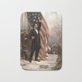 President Lincoln Giving A Speech Bath Mat