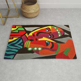 African Traditional Tribal Women Abstract Art Canvas Painting Series - 4 Rug