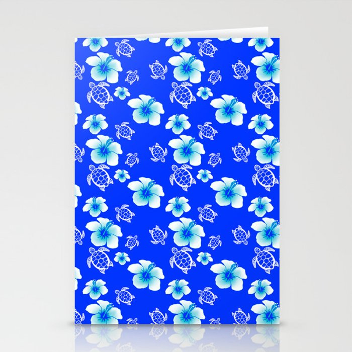 Blue Floral And Turtles Hawaiian Pattern Stationery Cards