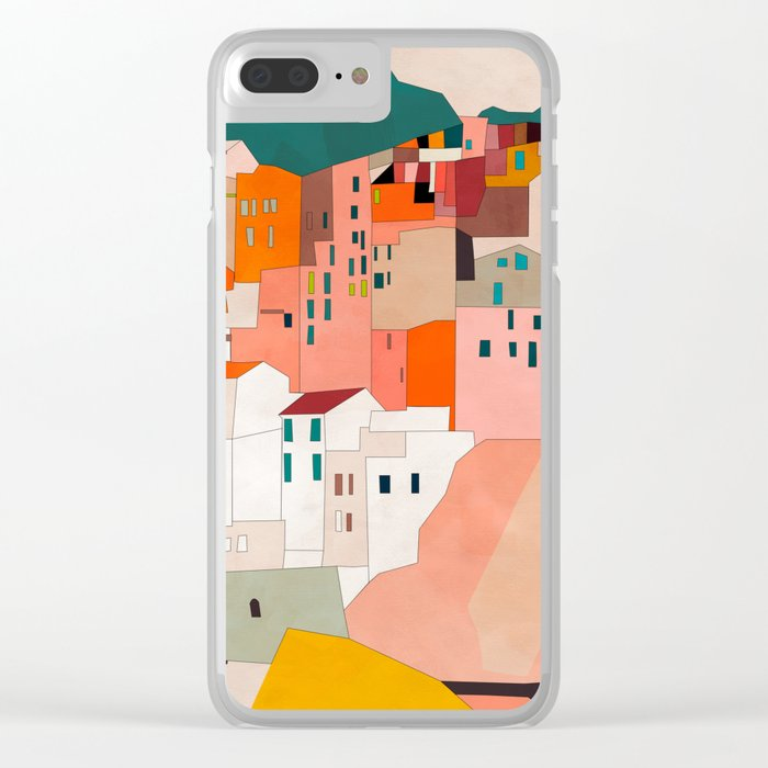 italy coast houses minimal abstract painting Clear iPhone Case