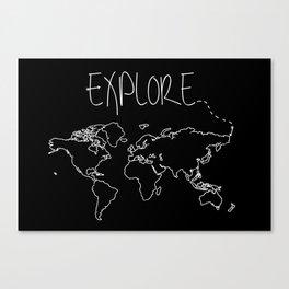 Explore World Map Canvas Print