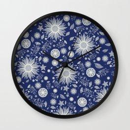 Beautiful Flowers in Navy Vintage Floral Design Wall Clock