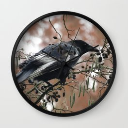A Curious Crow Wall Clock