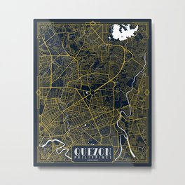 Quezon City Map of the Philippines - Gold Art Deco Metal Print