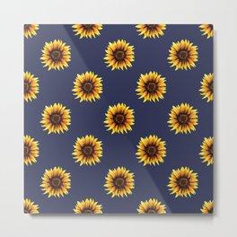 Sunflower // Navy Edit Metal Print