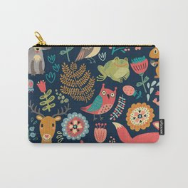 Forest friends - navy Carry-All Pouch