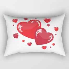 Red Hearts Rectangular Pillow