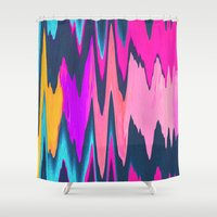 ikat Shower Curtains featuring Funky Ikat by Jenna Davis Designs