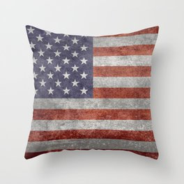 Flag of the United States of America - Vintage Retro Distressed Textured version Throw Pillow