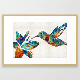 Colorful Hummingbird Art by Sharon Cummings Framed Art Print