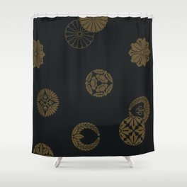 Japenese Black and Gold Shower Curtain