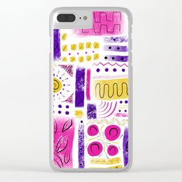 Geometric pink purple and yellow Clear iPhone Case