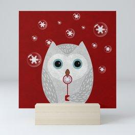 Christmas Owl Red Marble Mini Art Print