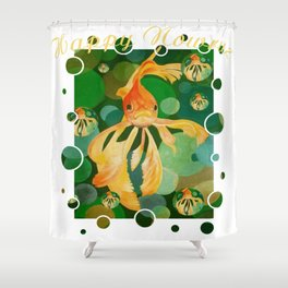 Happy Nowruz Persian New Year Goldfish In Green Sea Shower Curtain