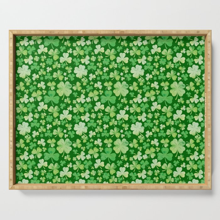 Lucky Green Watercolour Shamrock Pattern Serving Tray
