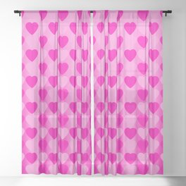 Zigzag of pink hearts staggered on a light background. Sheer Curtain