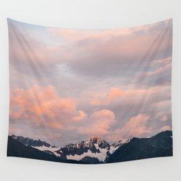Alaskan Mountain Sunset (Pink) II Wall Tapestry