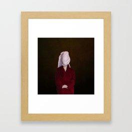 After shower portrait Framed Art Print