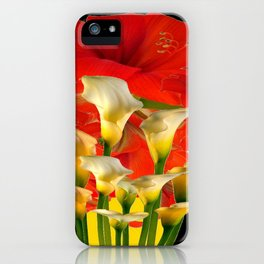 RED FLORALS & YELLOW CALLA LILIES BLACK ART iPhone Case