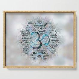 Labradorite Namaste Word Art in Lotus with OM symbol on pearl Serving Tray