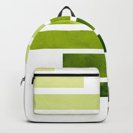 Sap Green Midcentury Modern Minimalist Staggered Stripes Rectangle Geometric Pattern Watercolor Art Backpack