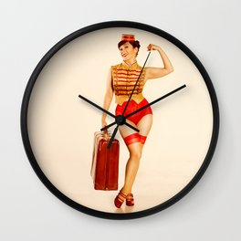 """Belle Hop"" - The Playful Pinup - Retro Bell Hop Pinup Girl by Maxwell H. Johnson Wall Clock"