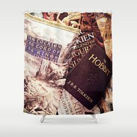 tolkien Shower Curtains featuring Tolkien Books by Apples and Spindles