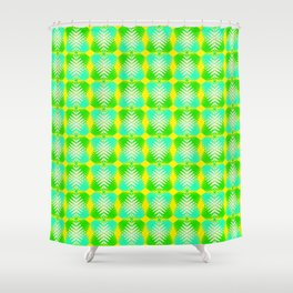 Blue diamonds from yellow stars on heavenly hearts in a bright intersection. Shower Curtain