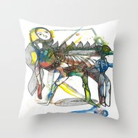 wings Throw Pillows featuring Wings by Dawn Patel Art