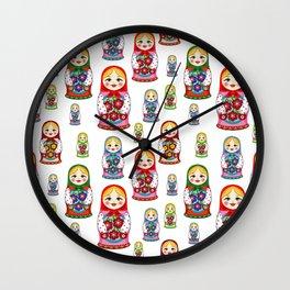 Russian nesting dolls pattern Wall Clock