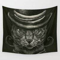 classy Wall Tapestries featuring Classy Cat by Miranda Leek