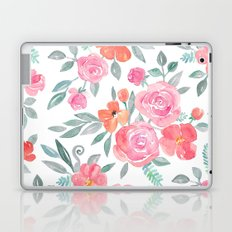 Amelia Floral in Pink and Peach Watercolor Laptop & iPad Skin