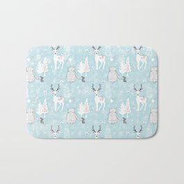 From Mice Bears Deers And Christmas-Cute teal X-Mas Pattern Bath Mat