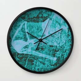Cinder's shoe in blue Wall Clock