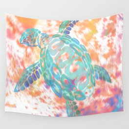 Turtle Pink Wall Tapestry