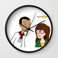 daria Wall Clocks featuring Daria meets Andres Bonifacio by Cesar Cueva