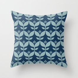 Navy blue retro tulip floral Throw Pillow
