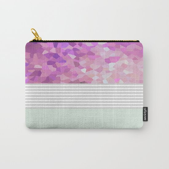 Pink Dreams on grey stripes Carry-All Pouch