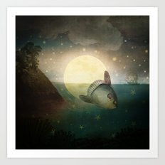 The Fish That Stole The Moon Art Print
