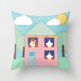 Doll House Throw Pillow