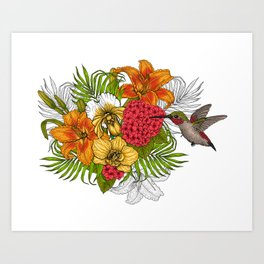 Hummingbirds and tropical bouquet Art Print