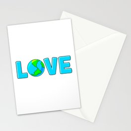 Planet Earth Love For Environment and Earth Day Stationery Cards