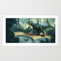 trex Art Prints featuring Trex pool by KateArts