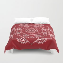 Mandala 01 - White on Burgundy Duvet Cover